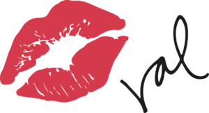 Large red kissprint followed by Val's abbreviated signature in black, both against a completely transparent background.